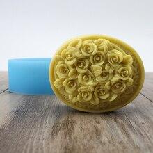 Силиконовая форма для мыла Nicole овальная с розой рельефная форма для шоколадных конфет