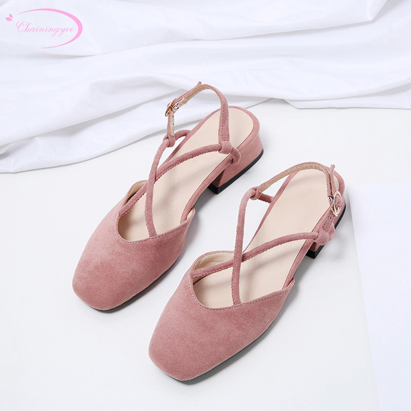 Korea casual style comfortable round toe flock summer sandals buckle strap black pink beige thick medium with women's shoes