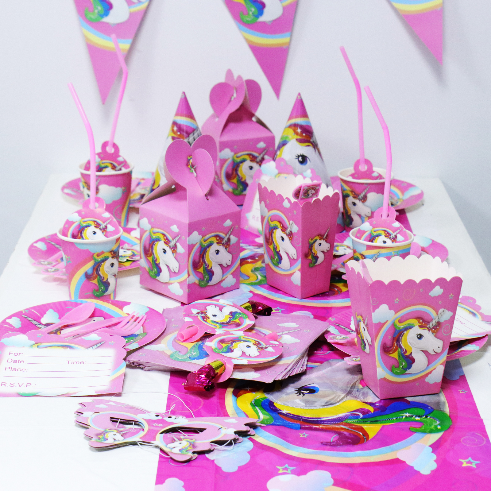 Unicorn Series Children Party Supplies Candles Invitation Cards Flags Paper Banner Bunting Kids Birthday Baby Shower Event