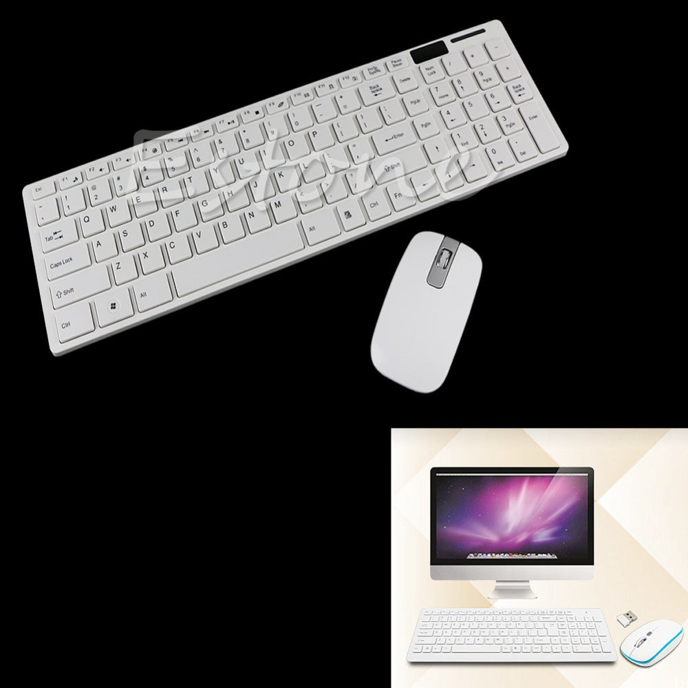 1 Set White Wireless 2.4G Optical Keyboard and Mouse USB Receiver Kit For PC New