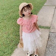 Модная клетчатая блузка из хлопка для девочек г. летняя детская одежда клетчатые рубашки с короткими рукавами для девочек и топы, детские блузки
