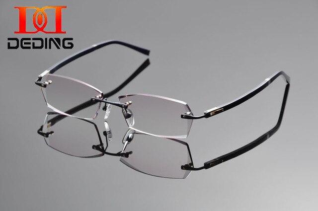 Deding мужчины титана очки без оправы кадров тонированные линзы для очками анти-голубой лучи 1.61 индекс красный серый объектив DD1314
