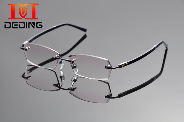 72620a2a8d Tent DeDing hombres sin montura de titanio vidrio tintado para gafas  graduadas anti azul rayos 1.61