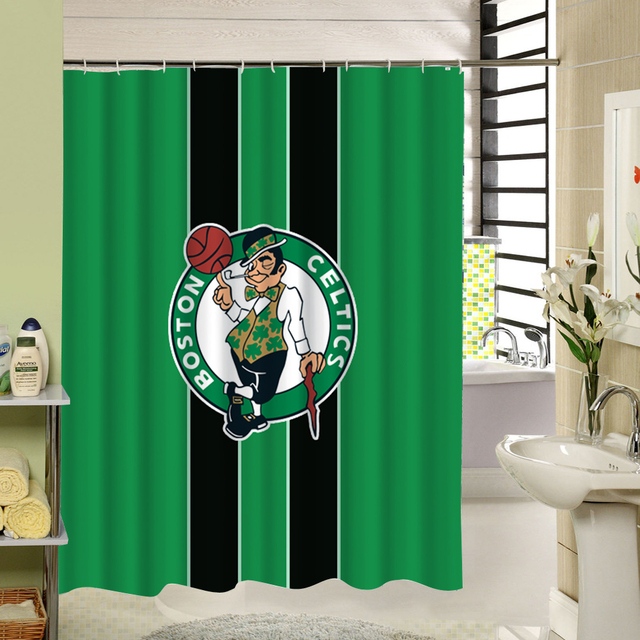 Cartoon Cute Design For Kids Bastetball 3D Print Waterproof Fabric Shower Curtain Green Red Black