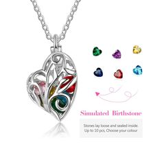 Silver Heart Cage Pattern Pendant Necklace With Birthstones