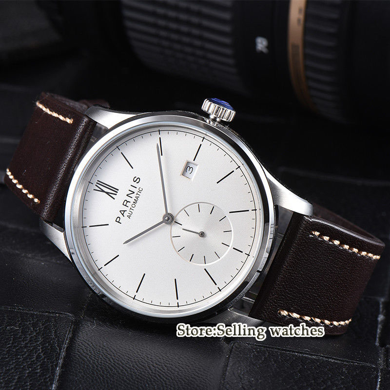42mm parnis white dial camel strap date ST 1731 automatic mens watch цена и фото