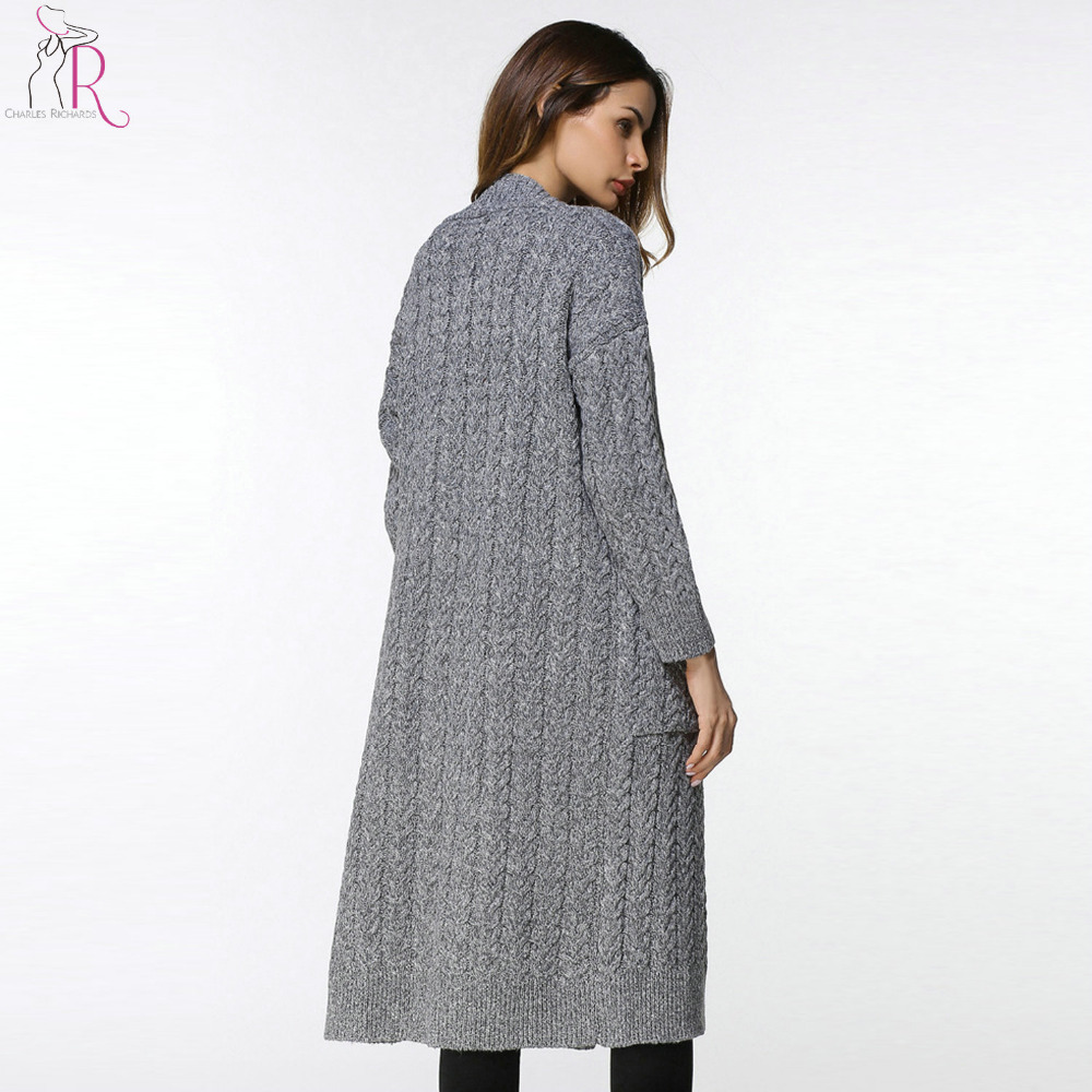 Blue and Grey Cable Knitted Cardigan Sweater Women Pockets Front V ...