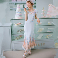 LYNETTE'S CHINOISERIE Summer Women Sweet water blue apricot colorant match delicate rose flower embroidery ruffle vintage dress
