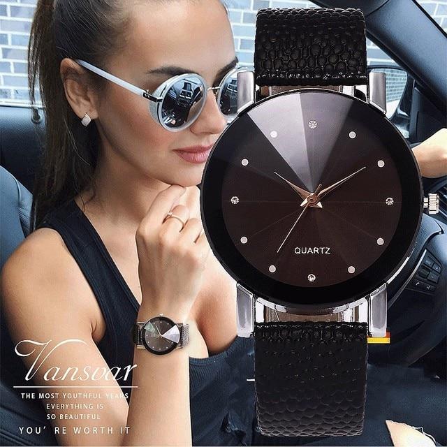 Vansvar Women Watch Luxury Brand Casual Simple Quartz Clock For Women Leather St