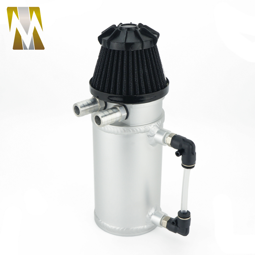 Aluminum Silver Universal Catch Can Tank Kits with Black Breather Filter Oil Reservoir Baffled Auto Oil Catch Can Tank