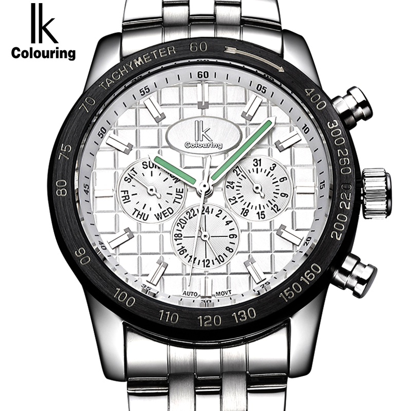 IK Colouring Nail Shape Scale Luminous Three Multifunction Sub Dials Week Date 24 Hours Automatic Self Wind Movement Men Watch матрас lineaflex kitti 70x200