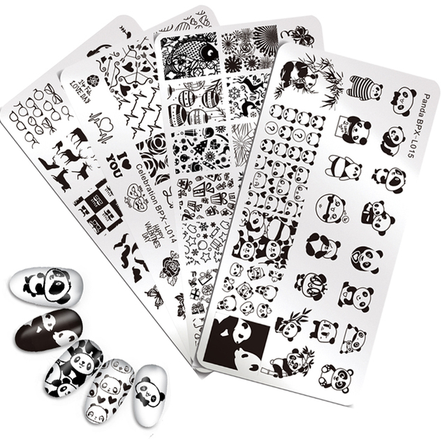 born pretty nail stamping plates celebration new year valentines day panda hipster design manicure nail art