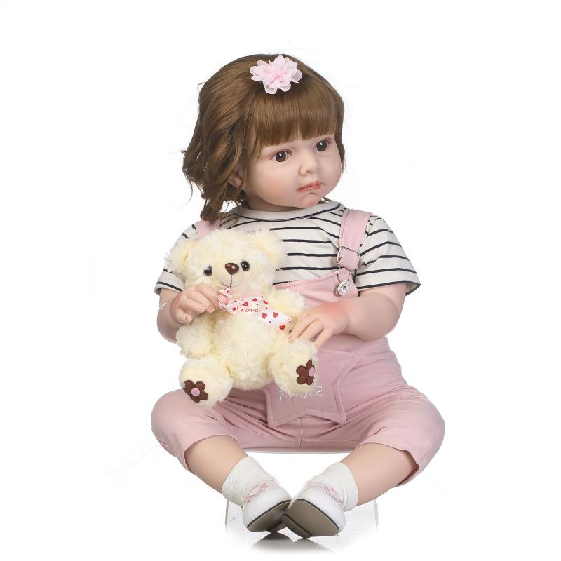 NPKCOLLECTION 2017 NEW 28inch rebOrn toddler doll soft real touch doll with wig hair pink cloth for girl gift for children