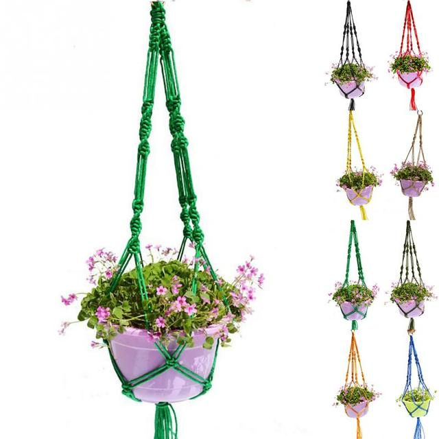 NEW Fashion Jute Plant Pot Holder 2 Legs Hemp Rope Hanging Net Handmade Macrame 1m Home Garden Decoration Hanging Flower Display