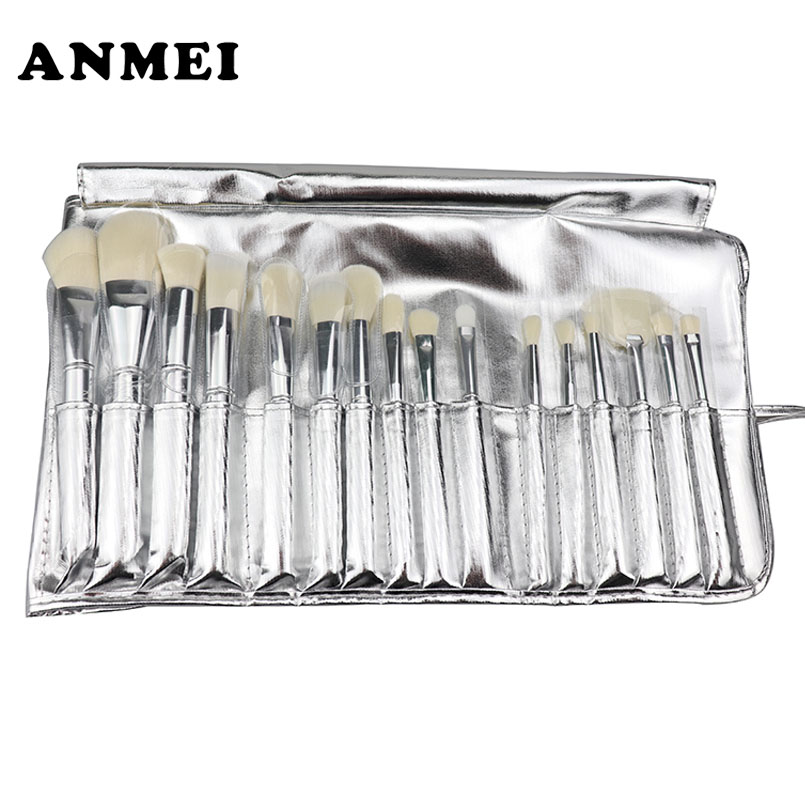 15PCS Full Silver Plating On Limited Edition Makeup Brushes Set Cosmetic Powder Foundation Makeup Brushes Kit Soft Bristles Beau