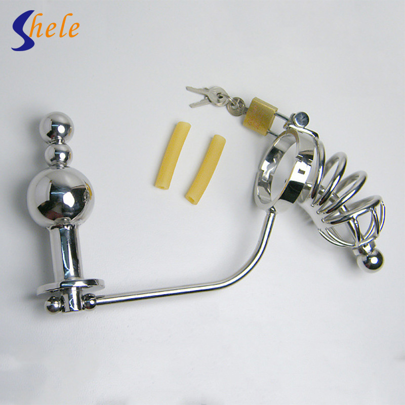 SHELE Stainless Steel Male Chastity Device Penis Cage + Anal Butt Plug Sex Products Sex Toys Cock Cage Metal Penis Chastity Cage 2 type metal anal plug for choose steel butt plug electric shock leather chastity cage device electro shock sex toys
