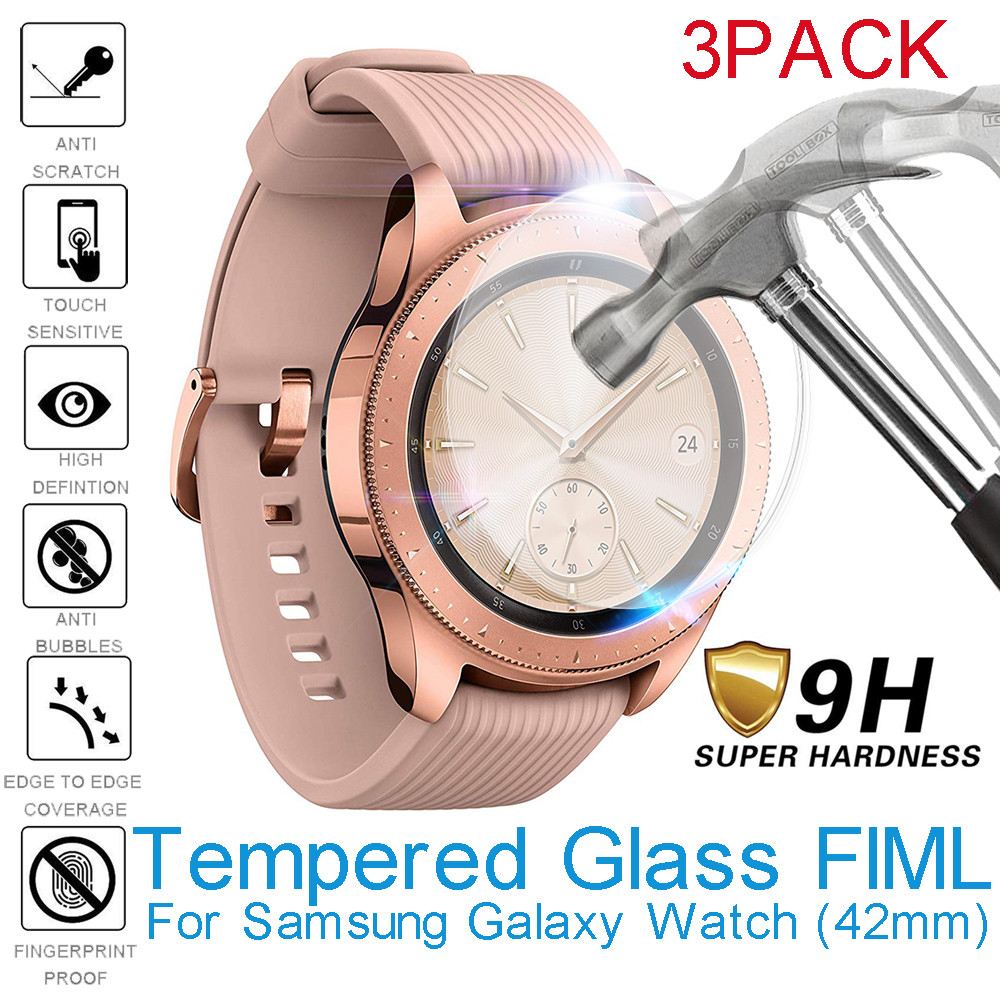 3pcs Tempered Glass For Samsung Galaxy Watch 42mm Screen Protector Film Smartwatch Protective Glass Bubble Free Scratch Proof(China)