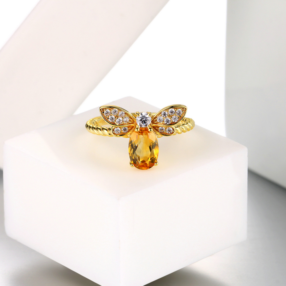 MoBuy MBRI019 Lovely Bee Natural Gemstone Citrine Ring 925 Sterling Silver 14K Gold Plated Adjustable Fine Jewelry For Women in Rings from Jewelry Accessories