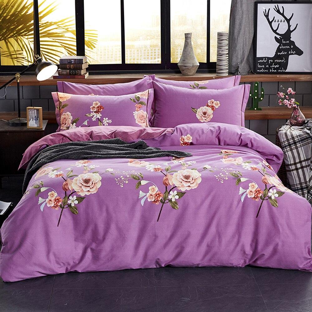 2018 Beige Flowers Purple Bedding Sets Sanding Cotton Duvet Cover Set Brushed Queen King Size Bedlinens Pillowcases Sheet