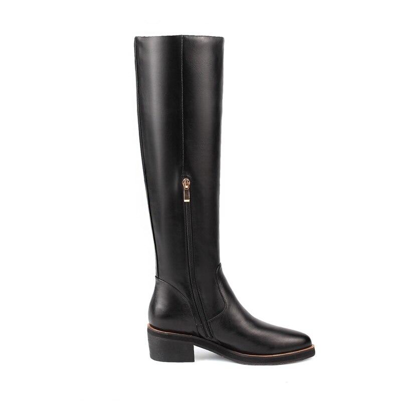 Genou Mode Chaussures Cuir D'hiver marron Zip Véritable Carré 2018 Boot Talons En Karinluna Bottine Noir Noir Qualité Top Up Haute Femmes Femme Sq8wx0PU