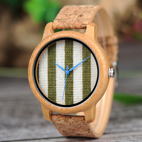 BOBO BIRD Cloth Dialplate Bamboo Wood Watch for Men Leather Strap Japan Quartz Wood Watches Women as Fashion Accessories Islamabad