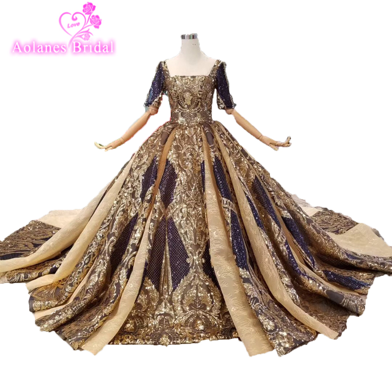 Navy Blue And Gold Lace Ball Gowns Wedding Dresses 2019 Vestido De Noiva Long Sleeves Corset Bridal Gowns For Women Bride Party Велюр