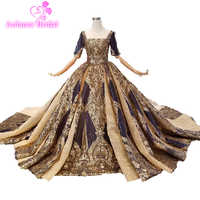 Navy Blue And Gold Lace Ball Gowns Wedding Dresses 2019 Vestido De Noiva Long Sleeves Corset Bridal Gowns For Women Bride Party