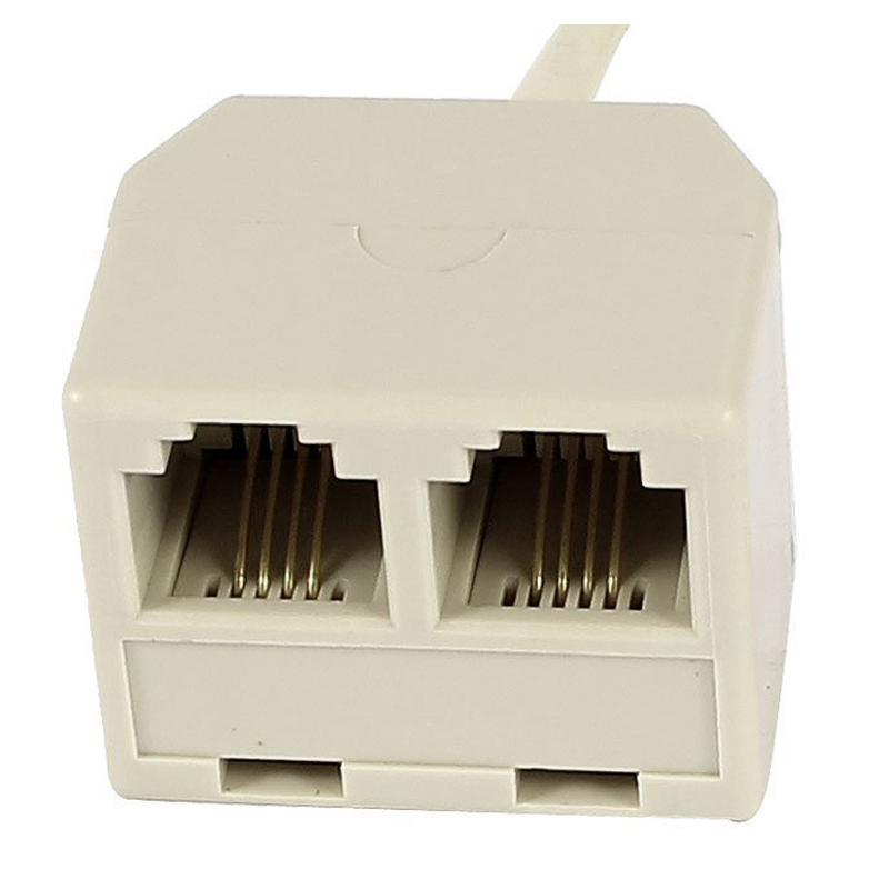 RJ 11 6P 4 C connector 2 x jack port M / F splitter phone adapter cable beige