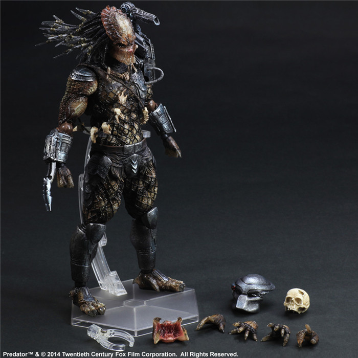 Playarts Kai Action Figure Predator Master Wolf Anime Toy Movie Alien Hunter Play Arts Kai Predator 260mm Collection Model stealth edition predator alien ganso elders lone wolf mask film may be moving even hand model h28
