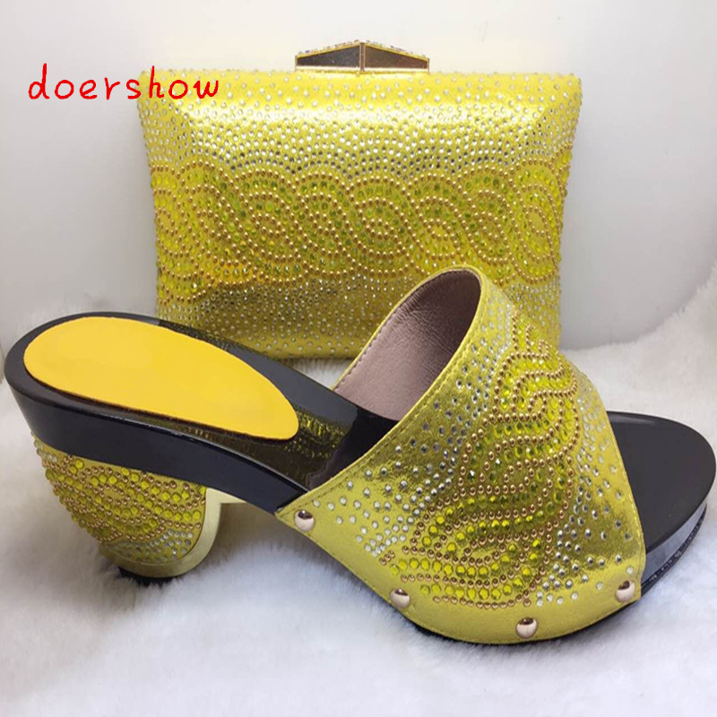 doershow Favorite Design African Square Heels Pumps Matching Shoes And Bags For Wedding Women Shoes And Bags Set ! bb1-5 doershow fast shipping fashion african wedding shoes with matching bags african women shoes and bags set free shipping hzl1 29