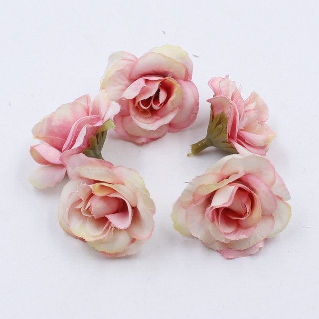 10 pcs 4cm Silk Rose Artificial Flower Wedding Leaves Decoration Items Wreath DIY Handicraft Flowers Fake Simulation Cheap 4