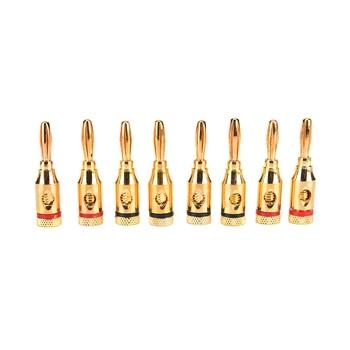 Venta al por mayor 8 piezas precio 24 k chapado en oro altavoz Musical Cable Pin Banana enchufe conector