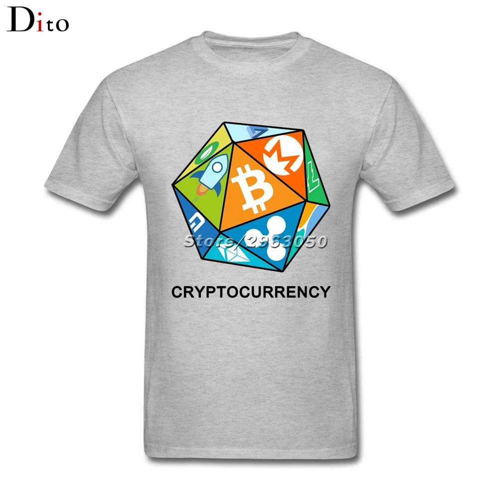Funny Bitcoin Peercoin Dash Litecoin Dice T Shirt Men Leisure Short Sleeve Cotton Plus Size Cryptocurrency Trader Tshirt