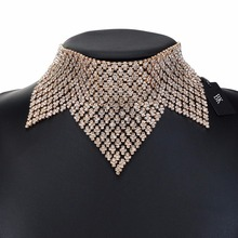 BK Multi Color Fashion Jewelry Statement Gold Chain Crystal Leaf Choker Bib Chunky Necklace
