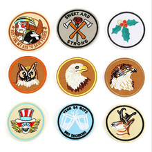 Circular Animal And Birds Badge Repair Patch Embroidered Iron On Patches For Clothing Close Shoes Bags Badges Embroidery DIY