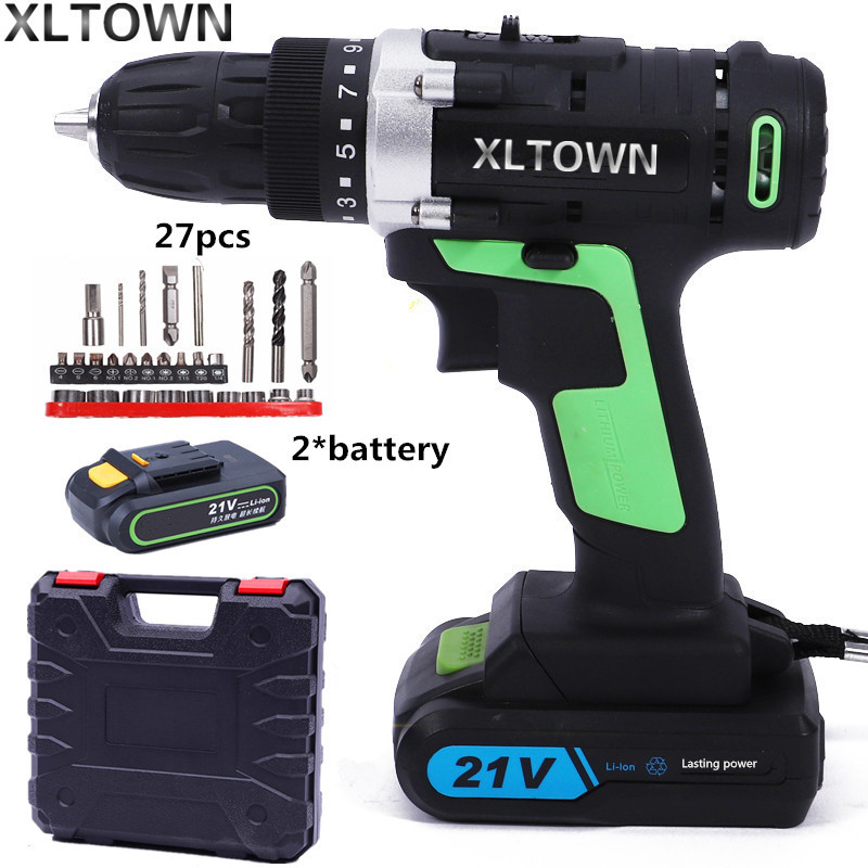 цена на XLTWON 21v cordless electric screwdriver with 2 battery lithium battery rechargeable Electric drill Household power tools