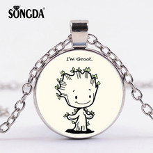 SONGDA Lovely I'm Groot Necklace Guardians of The Galaxy Tree Man Rocket Comic Printed Glass Cabochon Movies Pendant Collection(China)