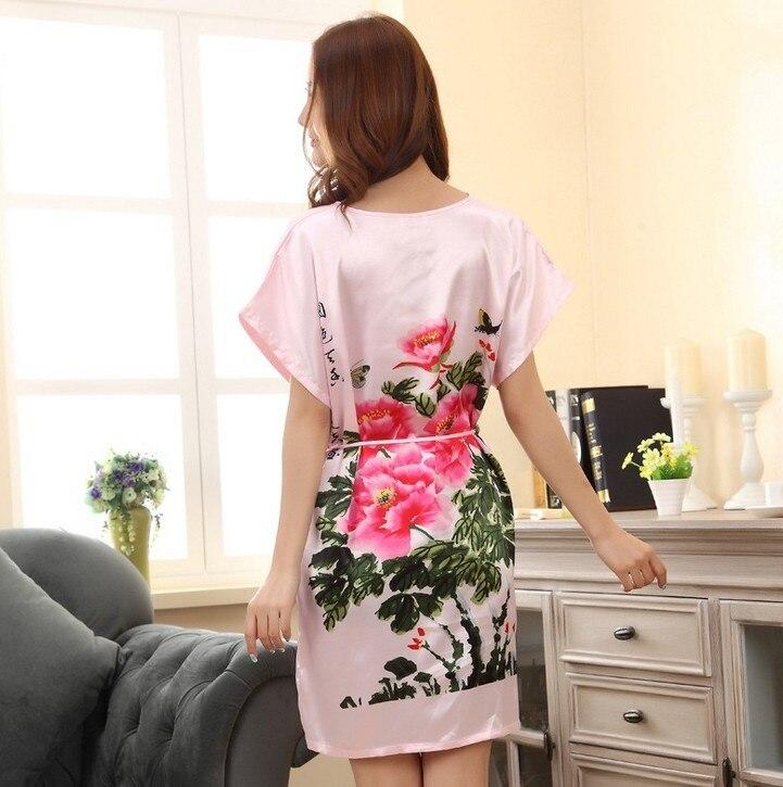 pink peony Short Sleeve Floral Sexy Plus Size Women Silk Robe Lady Girl  Silk Pajamas Housecoat Nightgowns Loungewear Sleepwear-in Robes from  Underwear ... bf1f7b638