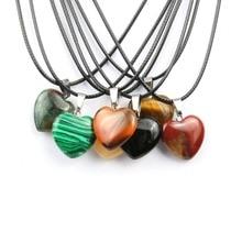 Wholesale Natural Stone Pendant Heart Shape Crystal AgateNecklace Good Quality Necklace Pendants 20*6mmm good quality wholesale