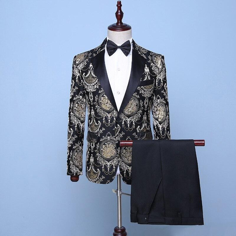 18th Century noir 2 pièces costumes printemps été imprimé or motif veste Slim Fit scène chanteur Blazer Costume (veste + pantalon)