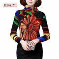 Espesar Floral Impreso Camisas de Cuello Alto de Las Mujeres, Además de Terciopelo Delgado Elástico Pullovers Tops Femeninos Calientes Ropa de Marca Estilo Colorido
