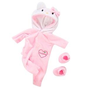 Image 3 - Pak + Schoenen Poppen Outfit Voor 17 Inch 43Cm Zapf Geboren Baby Pop Leuke Jumpers Rompertjes Pop Kleding