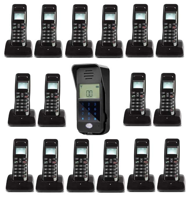 MOUNTAINONE New Arrivial Wireless Digital Audiio Door Phone,Password unlock / intercom system for 16-apartments