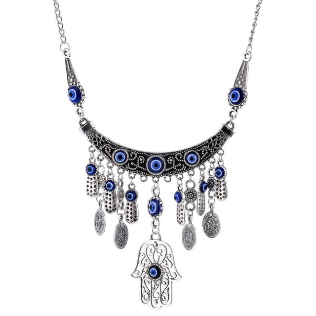 Bohemia Blue Evil Eye Necklace Steampunk Hamsa Hand Fatima Palm Pendant  Necklace For Women Silver Plated Coins Boho Jewelry c6ad8880dd