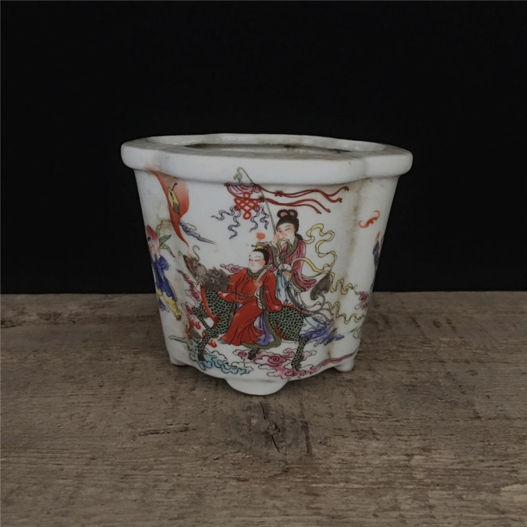 China old Hand painted ornaments Pastel Figure Painting pottery porcelain flowerpot