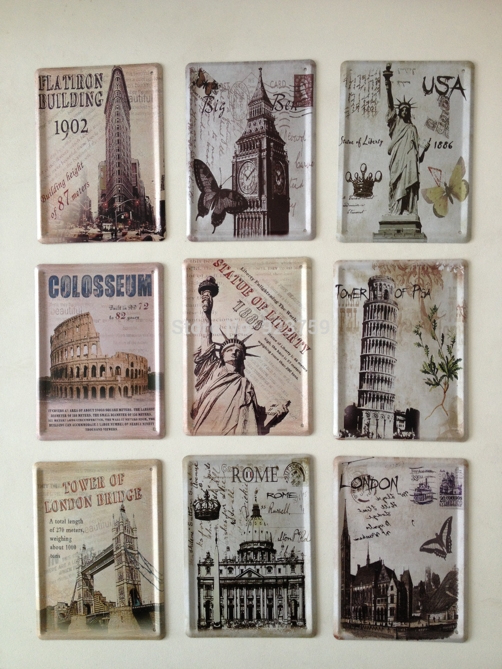 9pcs Lot Famouse Building 8x11cm Tin Sign Bar Pub Home Kitchen Wall Decor Retro Metal Craft Art