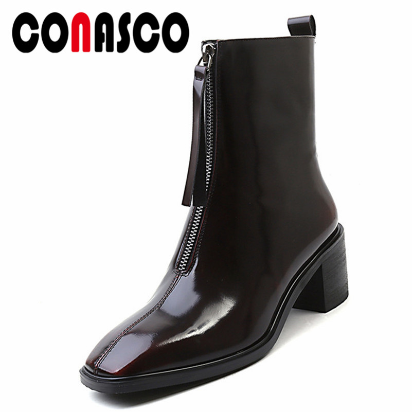 CONASCO Brand Women Ankle Boots Square Toe High Heels Martin Shoes Woman Night Club Office Pumps Warm Autumn Winter Snow BootsCONASCO Brand Women Ankle Boots Square Toe High Heels Martin Shoes Woman Night Club Office Pumps Warm Autumn Winter Snow Boots