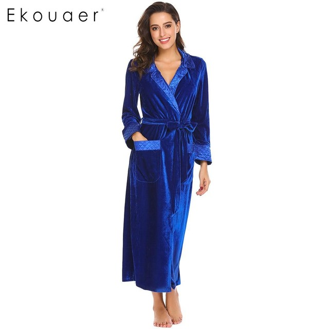 Ekouaer Flannel Robe Silk Long Women Dressing Gowns Long Sleeve Women s  Bathrobe Pocket Velvet Kimono Home Femme Sleepwear e92c423ca