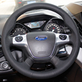 Car Steering Wheel Leather Covers Case for Ford new Focus 2012 KUGA Genuine Leather DIY Car-styling Leather Cover Black