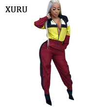 XURU Fashion casual jumpsuit color matching female pencil pants autumn and winter womens full sleeve zipper